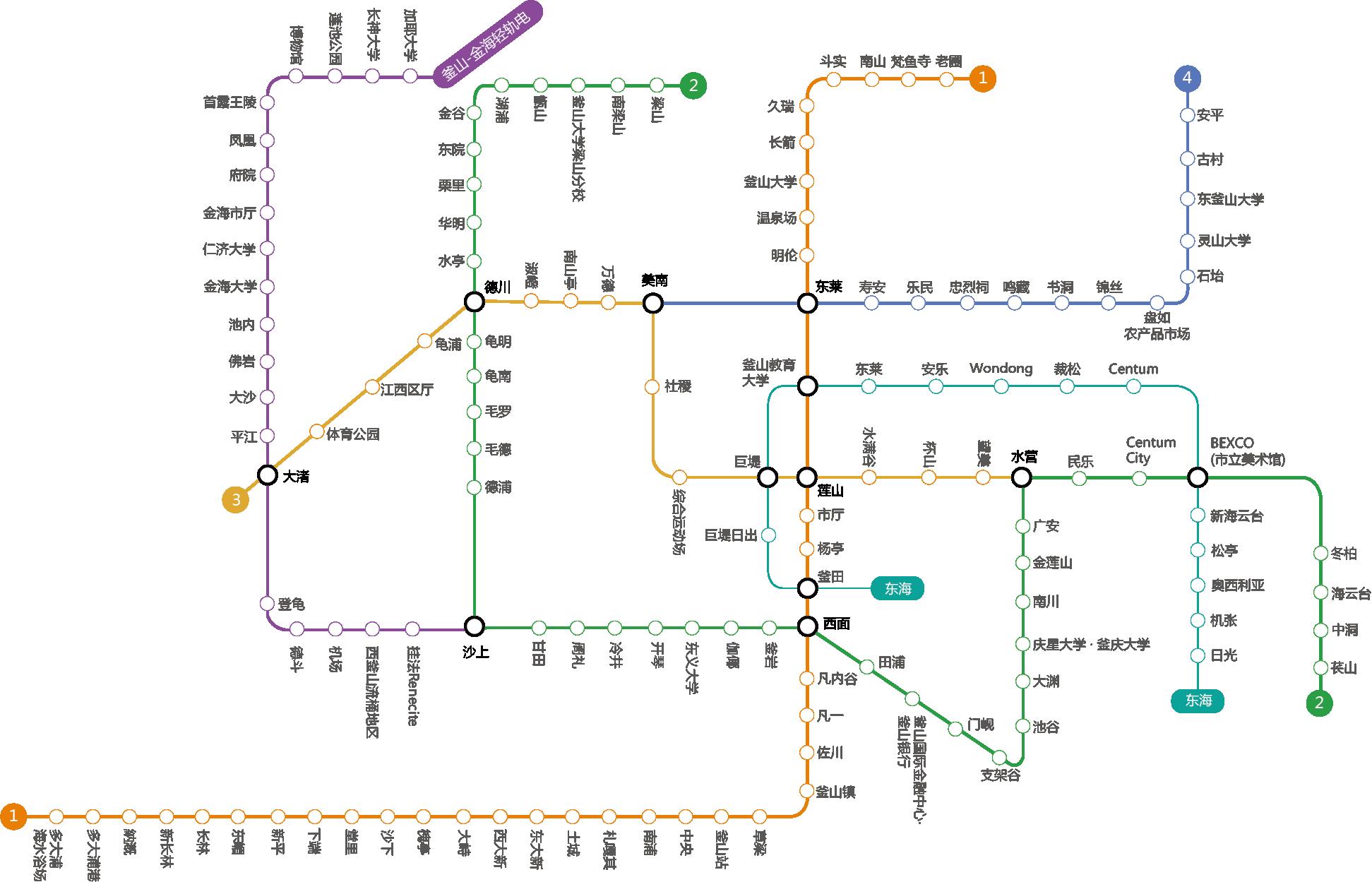 釜山交通攻略∥ 釜山地鐵路線圖/1~4號線.金海輕軌.東海線電鐵/費用/地鐵圖下載/中文版&韓英日文版地圖_2018年最新版