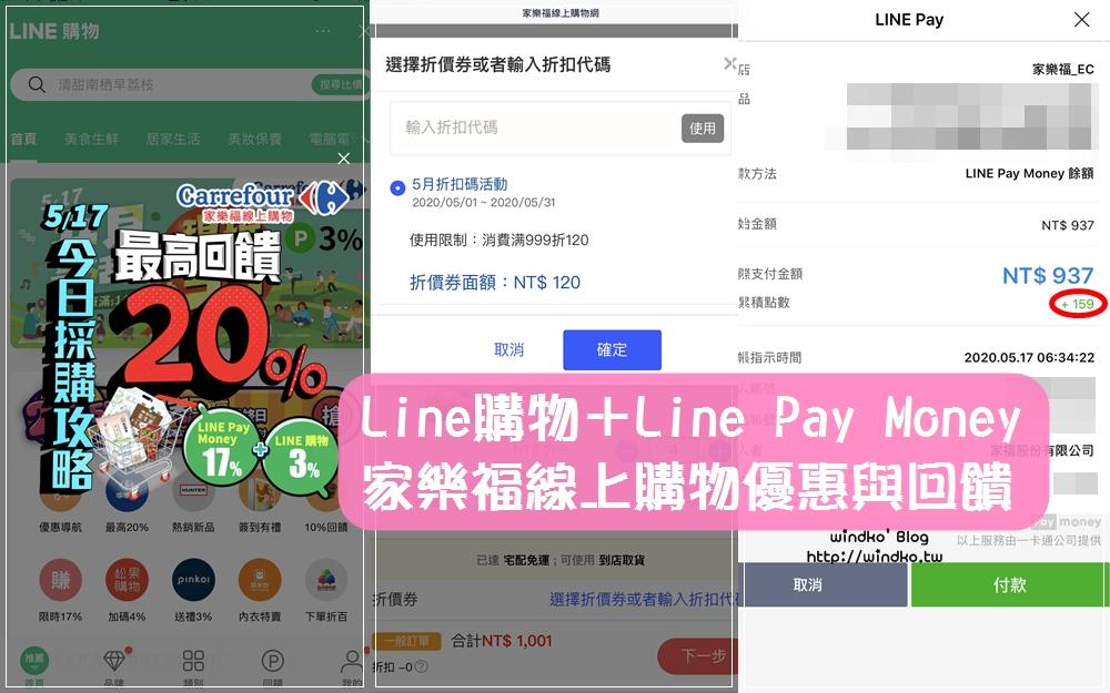 購物省錢分享∥ 家樂福線上購物-家樂福折扣碼/使用LINE購物&LINE Pay Money付款,每天5%以上回饋、每月17號至少20%的LINE POINTS回饋